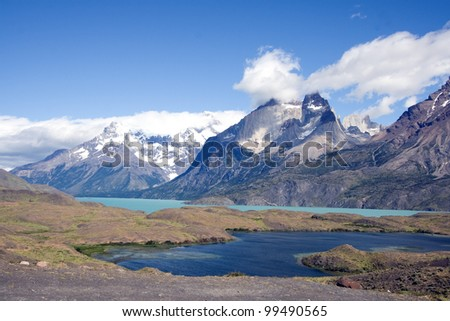 argentina, land of fire/lake and mountains/ - stock photo