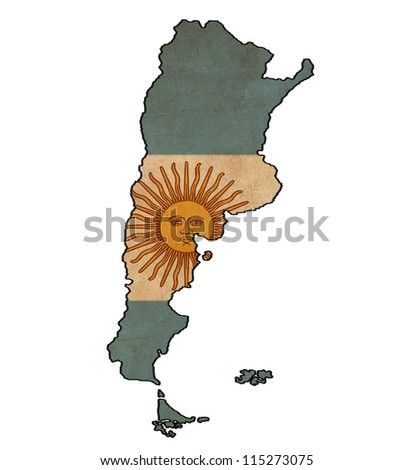 Argentina map on Argentina flag drawing ,grunge and retro flag series - stock photo