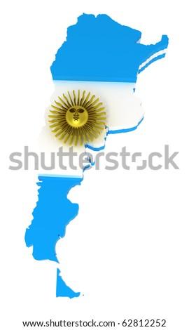 Flag Map Argentina Stock Vector Shutterstock - Argentina 3d map