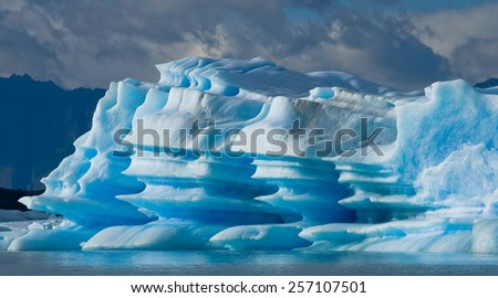 Argentina, Perito Moreno Glacier. An excellent illustration. Types of m form of glaciers and icebergs. great shape and the play of light and color. - stock photo