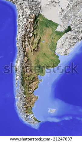 Argentina. Shaded relief map with major urban areas. Surrounding territory greyed out. Colored according to vegetation. Includes clip path for the state area. Data source: NASA