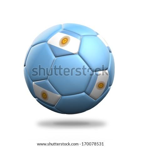 Argentina soccer ball isolated white background - stock photo