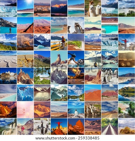 Argentina travel collage - stock photo