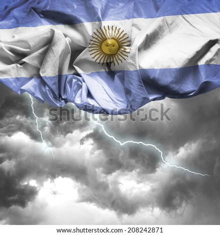 Argentina waving flag on a bad day - stock photo