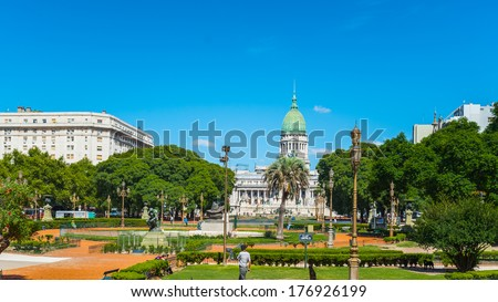 Argentine National Congress Palace, Buenos Aires, Argentina.  The Kilometre Zero for all Argentine National Highways is marked on a milestone at the Congressional Plaza, - stock photo