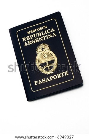 Argentine passport from above over white background - stock photo