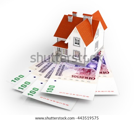 Argentine peso banknotes under house. 3d rendering. - stock photo
