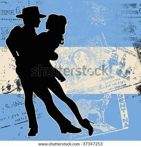 Argentine Tango Bitmap Background - stock photo