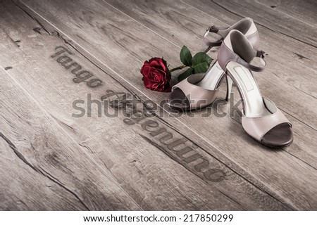 "Argentine tango shoes and a rose on a wooden floor, caption ""Tango argentino"" - stock photo"
