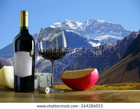 Argentine wine and cheese Aconcagua mountain in the background. - stock photo