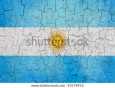 Argentinian flag on a cracked grunge background