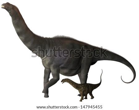 Argentinosaurus and Juvenile Profile - Argentinosaurus was a titanosaur sauropod dinosaur from the Cretaceous epoch in Argentina. - stock photo