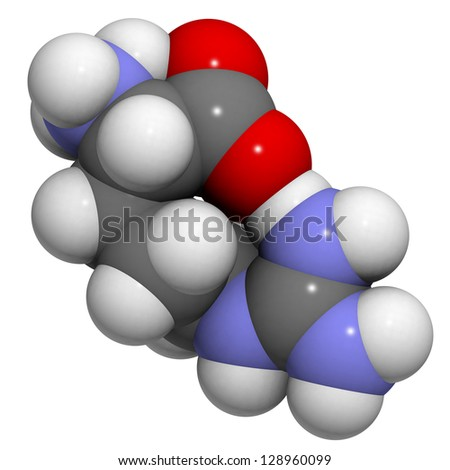 Arginine (Arg, R) amino acid, molecular model. Amino acids are the building blocks of all proteins. Atoms are represented as spheres with conventional color coding: hydrogen (white), carbon (grey),etc - stock photo