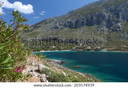 Arginontas beach at Kalymnos island in Greece - stock photo