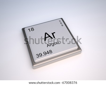 Argon chemical element of the periodic table with symbol Ar - stock photo
