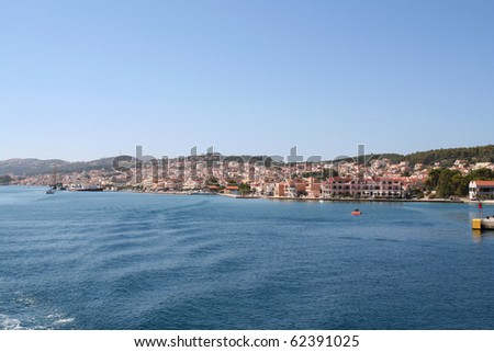 Argostoli, Kefalonia, from the water. - stock photo