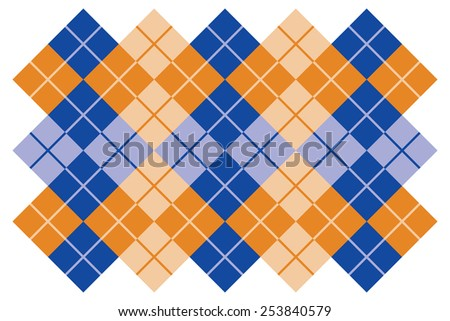 Argyle layout design in blue and orange. - stock photo