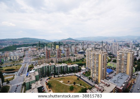 arial architecture sarajevo cityscape from bosmal bigest building on balcan - stock photo