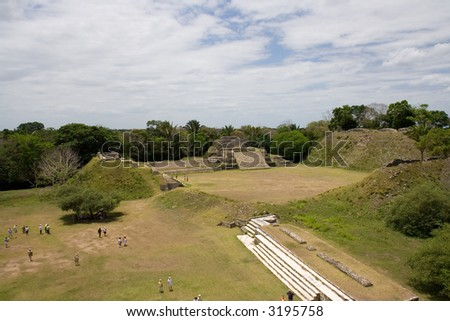 Arial Overview of Mayan Ruins at Altun Ha, Belize - stock photo