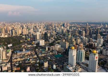 Arial view Bangkok central business and office building, Thailand - stock photo