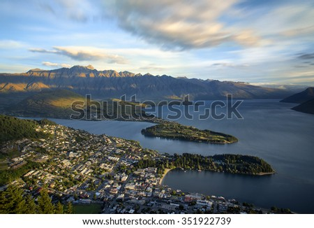 Arial view of Queenstown city at dusk, South Island, New Zealand been taken from the Gondola - stock photo