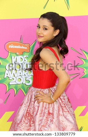 Ariana Grande at Nickelodeon's 26th Annual Kids' Choice Awards, USC Galen Center, Los Angeles, CA 03-23-13 - stock photo