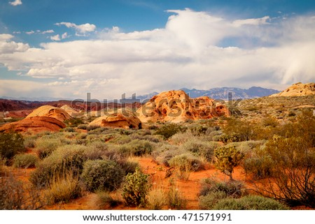Arid and beautiful landscape at Valley of fire in Nevada states