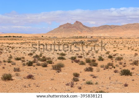 Arid desert in the Middle Atlas Mountains in Morocco, Africa - stock photo