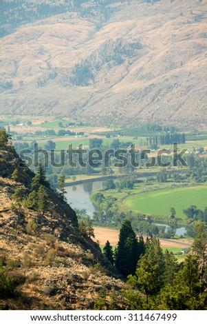 Arid landscape of Oroville, Washington, USA. - stock photo
