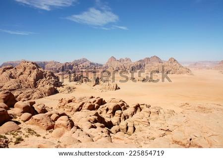Arid mountain landscape in Wadi Rum desert in Jordan. - stock photo