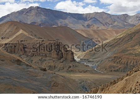 Arid mountain scenery along the route of the high altitude road between Manali and Leh in Ladakh, India