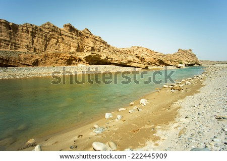 Arid region river in the valley, northwest China Landscape