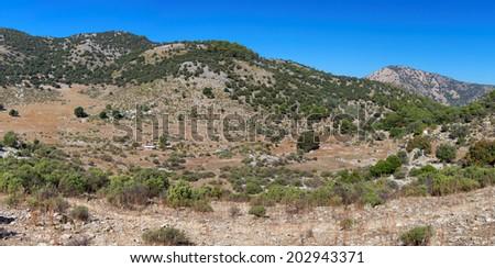 Arid Turkish landscape between Marmaris and Fethiye, Turkey, Europe - stock photo