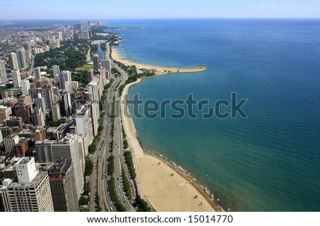 Ariel view of Chicago lakefront - stock photo