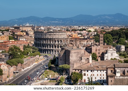 Ariel view of Colosseum and Roman Forum.(Rome - Italy)  - stock photo