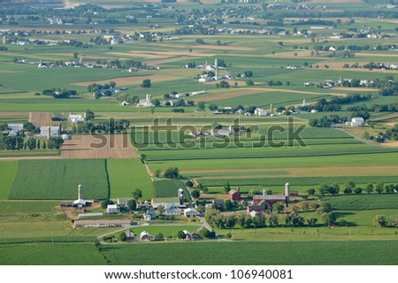 Ariel view of dutch country farm land - stock photo