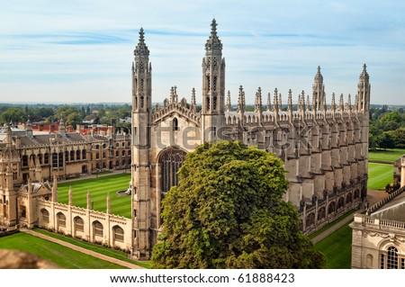 Ariel view of King`s College, Cambridge. - stock photo