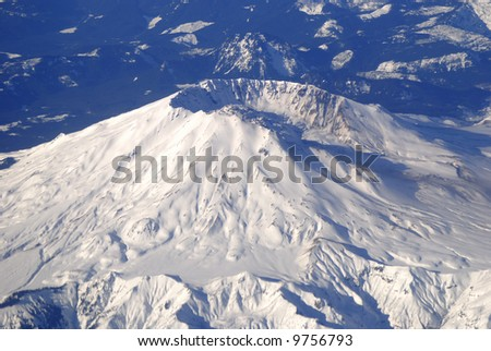 Ariel View of Mount St Helens covered in snow - stock photo