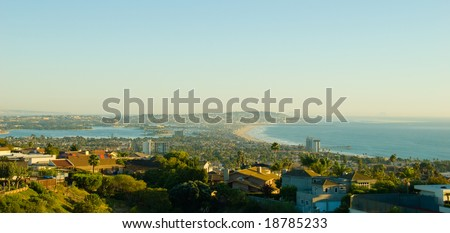 Ariel View of San Diego California to the Ocean, Bay and Suburbs - stock photo