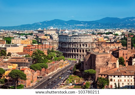 Ariel view of The Colosseum in Rome - Italy. - stock photo