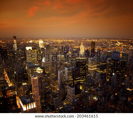 Ariel view of the New York City skyline at sunset - stock photo
