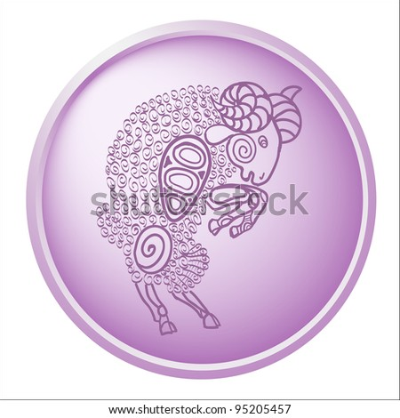 aries, button with sign of the zodiac - stock photo