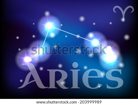 Aries horoscope or zodiac or constellation illustration - stock photo