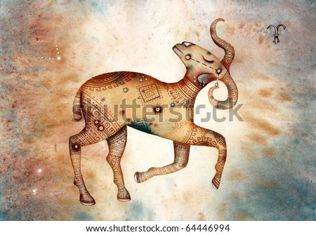 Aries. Logo-like Zodiac Star - stock photo