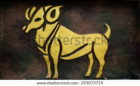 Aries sign of horoscope on the wall - stock photo