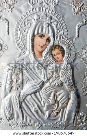 ARISTINO VILLAGE, GREECE - APRIL 30: The Virgin Mary and Jesus Christ as a child, a Byzantine iconography in the interior of village church, on April 30, 2014 in Aristino Village, Greece  - stock photo
