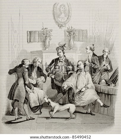 Aristocratic hairdressing old illustration. Created by Moreau, published on Magasin Pittoresque, Paris, 1842 - stock photo
