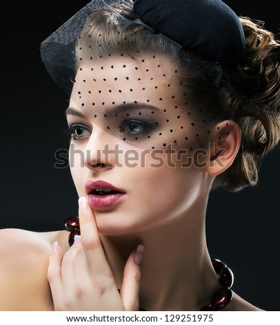 Aristocratic Profile of Romantic Retro Styled Woman in Black Veil and Hat. Vintage - stock photo