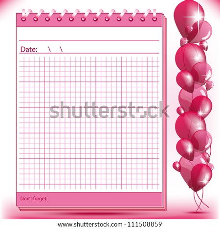 Arithmetic block notes in pink shades with balloons - stock photo
