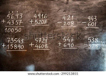 Arithmetic operations with rational numbers, additions and subtractions, handwritten on an old chalkboard during the maths class - stock photo